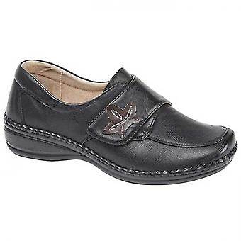 Boulevard Ivy Ladies Wide Fit Touch Fasten Shoes Black