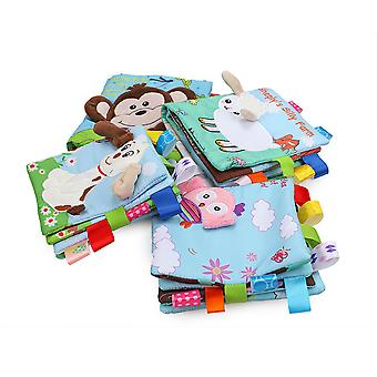 4pcs Dog Sheep Monkey Owl Interesting Cloth Book With Sound Paper Bb Device Baby Fabric Book
