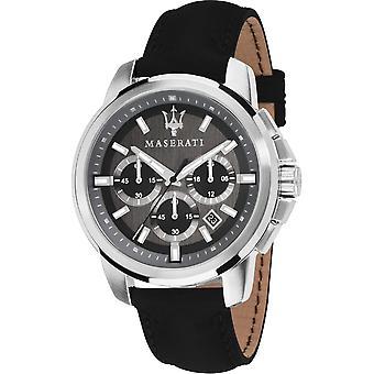 Maserati R8871621006 Men's Successo Chronograph Black Strap Wristwatch