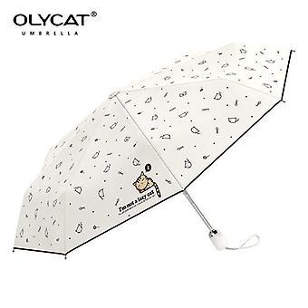 Automatisk paraply regn kvinnor härlig katt