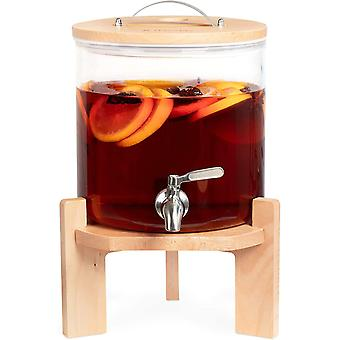 HanFei 5L Getränkespender mit Zapfhahn aus Edelstahl - Glas Wasserspender mit Stand aus Buchen Holz