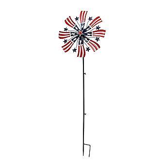 63 Inch Red White & Blue Metal Pinwheel Patriotic Garden Kinetic Wind Spinner