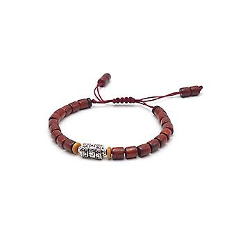 BENAVA Tibetan sandalwood bracelet with mantra symbol Brown wood pearls adjustable red man