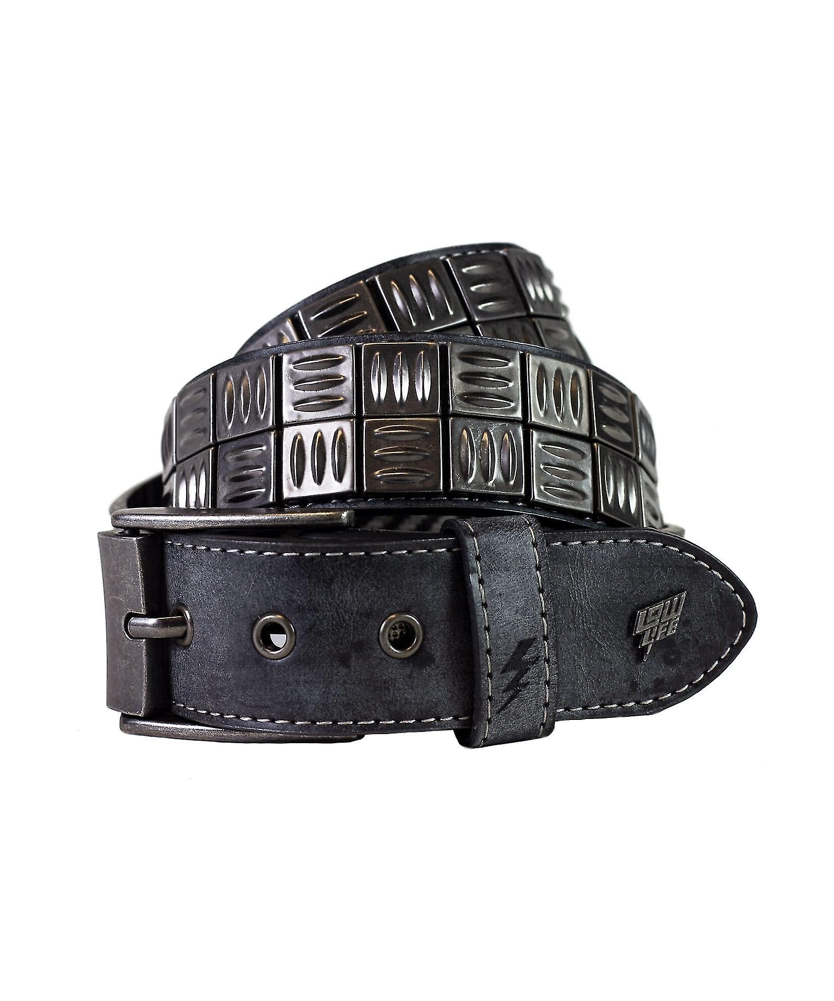 Lowlife Grip Leather Belt in Slate