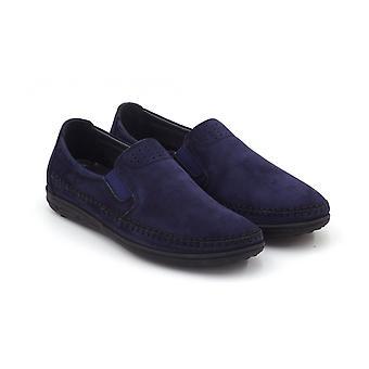menns ekte skinn marineblå klassiske sko uformell fottøy