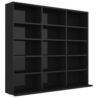 vidaXL CD shelf high gloss black 102x23x89.5 cm chipboard