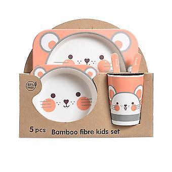 Five-piece Bamboo Fiber Children's Tableware Little Mouse Pattern Kid Sets