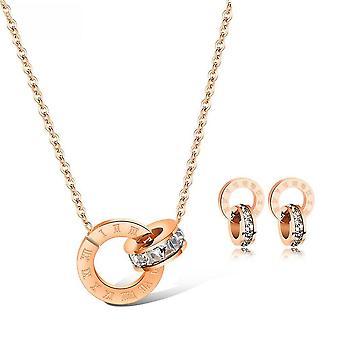 Jewelry Set Roman Numerals Micro Rhinestone Rose Gold Plated Titanium Steel Ear Studs Earrings Women