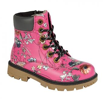 Cipriata Sonia Girls Lace Up Ankle Boot Fuchsia Floral