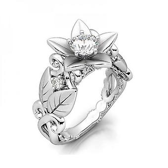Womens White Gold Filled Cz Round Ring