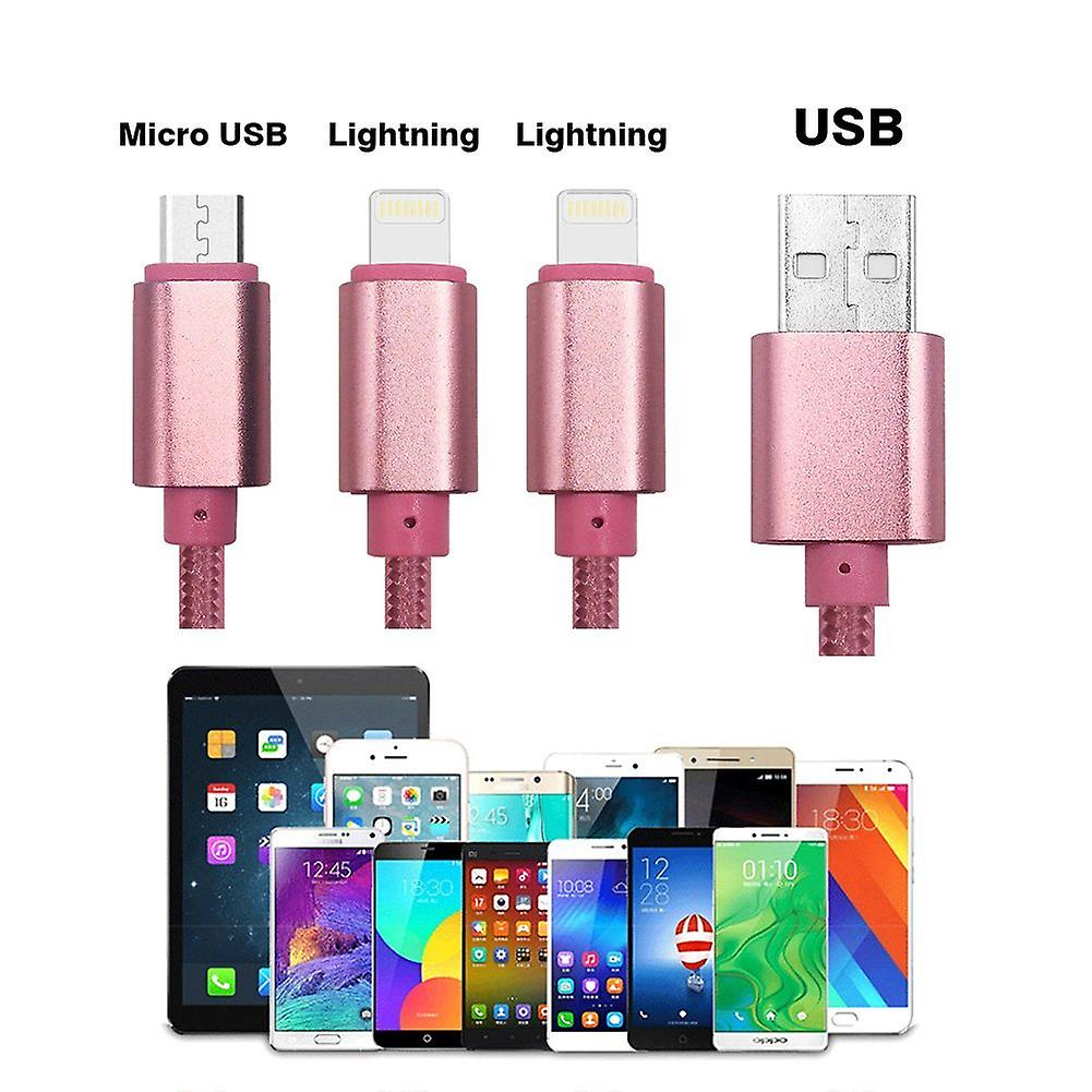 ONX3 (Rose Gold) Premium Quality 1 Meter Length 3 in 1 Multiple USB Charging Cable High Speed Nylon Braided with Type C / 8 Pin Lighting / Micro USB Connector for Samsung Galaxy Tab A 7.0 (SM-T280) 7