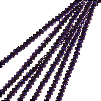 Crystal Beads, Faceted Rondelle 1.5x2.5mm, 2 Strands, Opaque Purple Iris