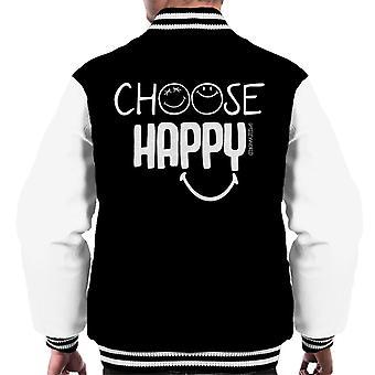 Smiley World Choose Happy Men's Varsity Jacket