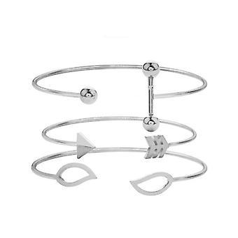 3PCS  Sweet A Set Of Open Cuff Bracelet Trendy Minimalist Arrow leaves Adjustable Bracelets For