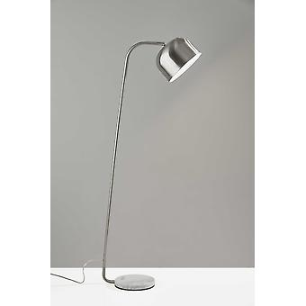 Brushed Steel Metal Floor Lamp Adjustable Dome Shade and Natural White Marble Base