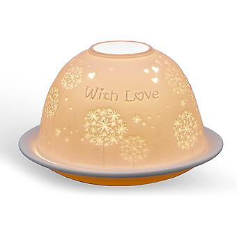 Light Glow Dome Tealight Holder, With Love
