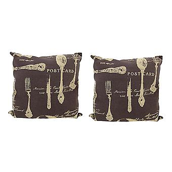 Coppia di tela marrone cucina francese cartolina tema Throw Pillows 16 pollici