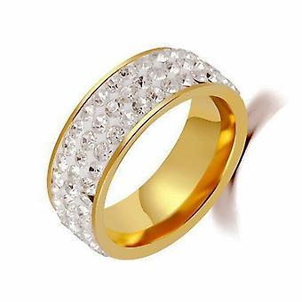 Anelli di coppia promettono anelli per coppie in acciaio titanio cinque file anello di diamante completo