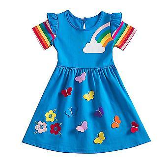 Kids Girls Rainbow Princess Swing Dress Birthday Party Summer Dresses