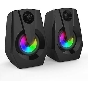 Computer Speakers,  2.0 Usb Powered Pc Computer Speakers With Led Lights 4wx2, Speakers With Deep Bass In Small Body For Laptop Desktop,  (pc Speaker)