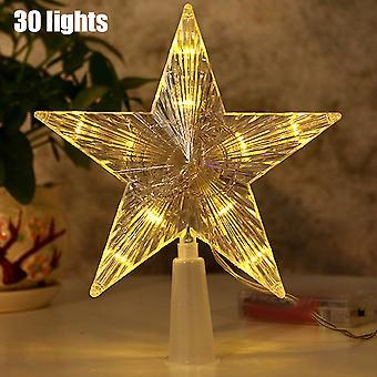 Joulu 3d Hollow Star Topper Led Light Riipus Lamppu Xmas Tree Sisustus