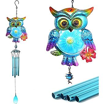Stained Owl Wind Chimes, Metal Glass Unique Memorial Wind Chime For Outside Deep Tone Outdoor Indoor Dcor For Home Garden Window Yard Patio