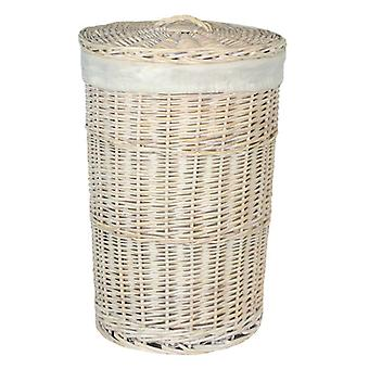 Small Round White Wash Laundry Basket with a White Lining