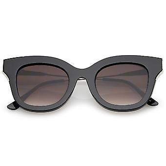 Oversize dikke slanke tempel metaal Trim Square vlakke Lens Cat Eye zonnebril 48mm