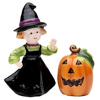 Happy Halloween Pumpkin and Witch Salt and Pepper Shaker Set