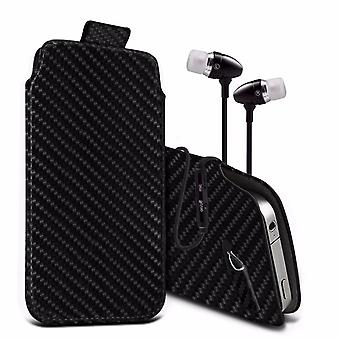 i-Tronixs Premium Stylish Faux Leather Pull Tab Pouch Skin Case Cover with Aluminium Stereo Hands Free Earphone For Sharp Aquos SH-M02 (5