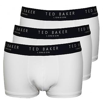Ted Baker 3-Pack Contrast Waist Boxer Trunks, White