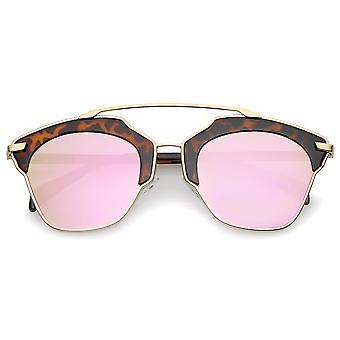 Haute Couture zweifarbig Pantos Crossbar farbige Spiegel Objektiv Aviator Sonnenbrille 52mm