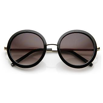 Womens Round Oversized Circle Sunglasses  w/ Metal Arms