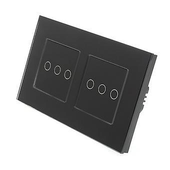 Ik LumoS zwart glas dubbel Frame 6 bende 1 manier externe WIFI / 4G-Touch LED licht schakelen zwarte invoegen