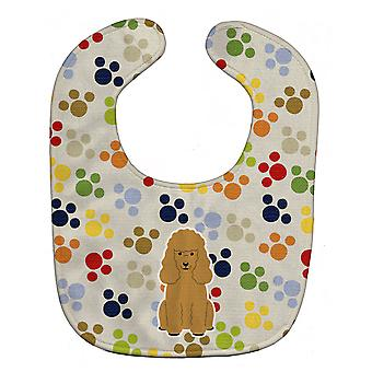 Carolines Treasures  BB5898BIB Pawprints Poodle Tan Baby Bib