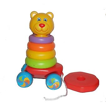 Fun Time Pull Along Teddy Stacker Stacking Rings 2 in 1 Rocking Toy