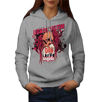 Urban Victim Angel Women GreyHoodie | Wellcoda