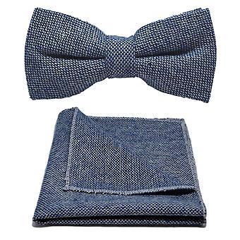 Highland weven blauw strikje Stonewashed & zak plein instellen