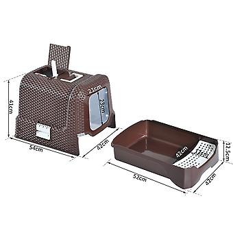 Pawhut Pet Litter Box Cat Toilet Portable Cleaning Fully Enclosed Kitten Pan With Scoop 54L x 42W x 41H cm Coffee