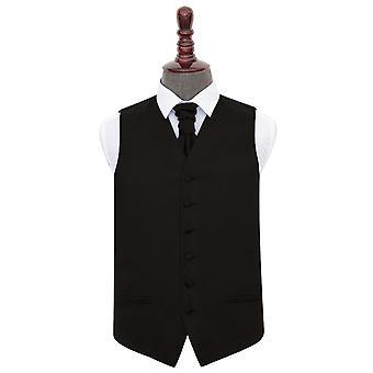 Gilet di raso nero liscio & Cravat Set