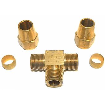 "Big A Service Line 3-67286 1/2"" x 3/8"" Brass Metal Tee Fitting"