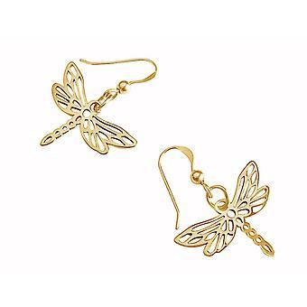 Gemshine Damen Ohrringe 925 Silber Vergoldet LIBELLE 3 cm