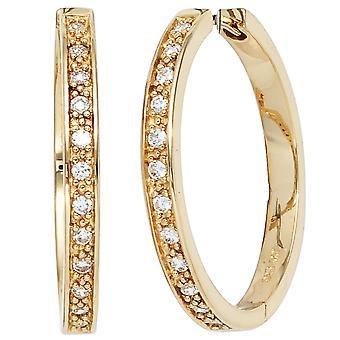 Glitter hoops earrings 925 sterling silver gold plated 24 cubic zirconia earrings silver