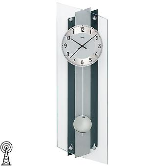 Radio kontrollert veggur svart sølv tre bakveggen aluminium mineralglass