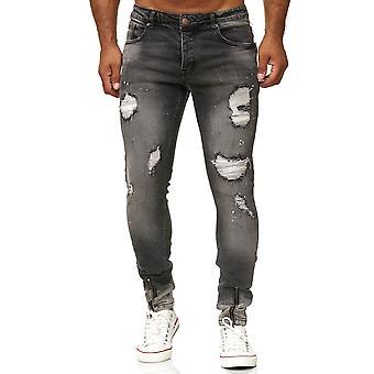 Men's Jeans Pants Dark Grey Slim Fit Denim Destroyed Used Ripped Trousers