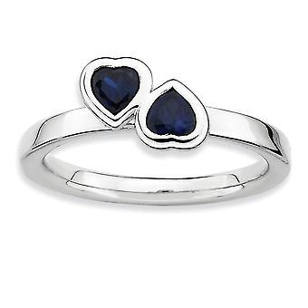 925 Sterling hopea kehys kiillotettu pinottavat ilmeet Cr. Sapphire Double Love Sydänrengas Korut Lahjat naisille - R