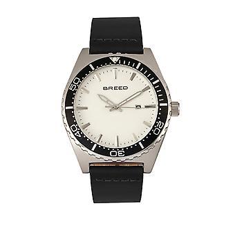 Raza Ranger banda de cuero reloj w/fecha-plata/blanco
