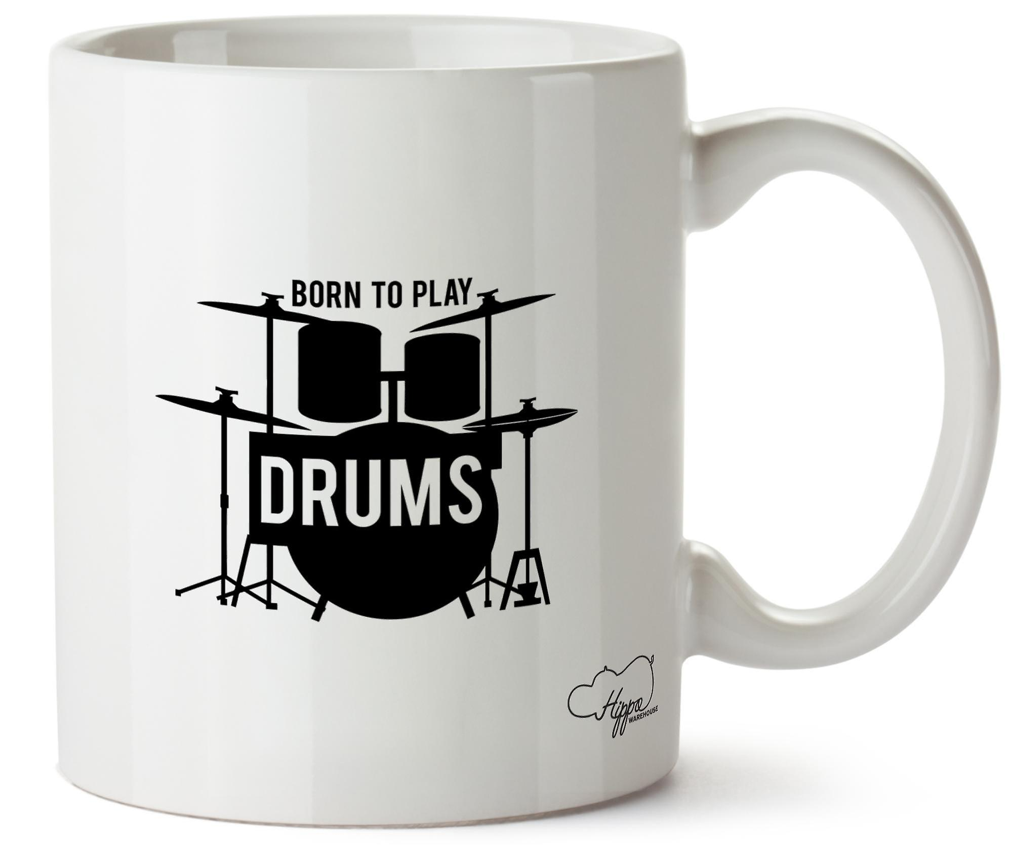 Hippowarehouse Born To Play Drums 283,5 Gram Mug Cup, Céramique, Blanc, One Size (10oz)