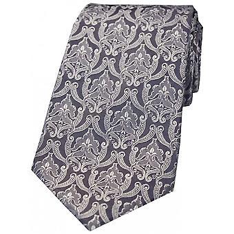 David Van Hagen Victoriaanse Wallpaper zijden stropdas - grijs/zilver