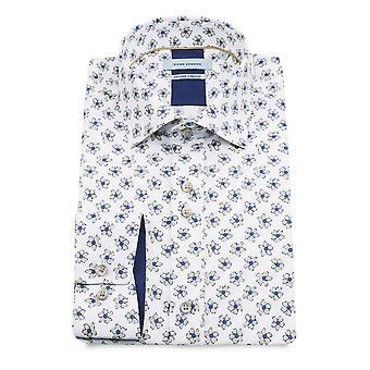 Guia de Londres algodão puro estampa Floral masculino camisa branca de manga comprida